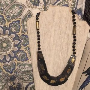 Vintage horn & brass inlay necklace with elephants